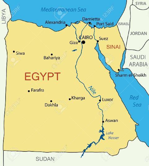 15373120-R-publique-Arabe-d-Egypte-carte-Banque-d'images
